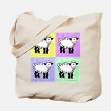 Wobbly Lamb Square Pop Art Tote Bag