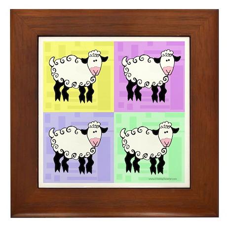 Wobbly Lamb Square Pop Art Framed Tile