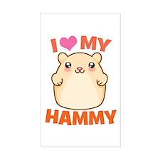 I Love My Hammy Rectangle Decal