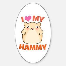 I Love My Hammy Oval Decal