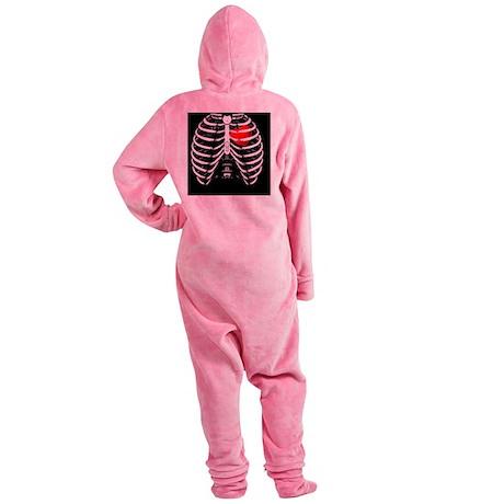 Rib Cage with valentine heart verti Footed Pajamas