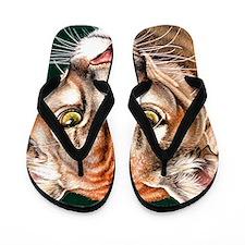 Panther Portrait Square Flip Flops