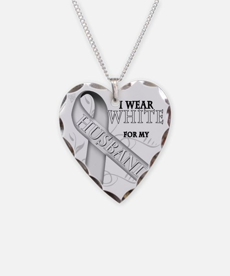I Wear White for my Husband Necklace
