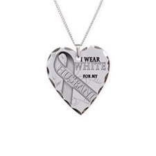I Wear White for my Husband Necklace Heart Charm