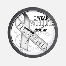 I Wear White for my Husband Wall Clock
