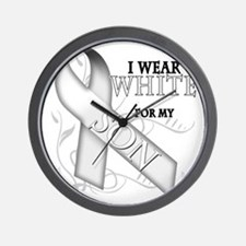 I Wear White for my Son Wall Clock