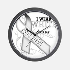 I Wear White for my Mom Wall Clock