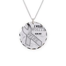 I Wear White for my Wife Necklace Circle Charm