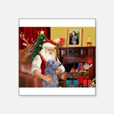 "Santa's Scottish Deerhound Square Sticker 3"" x 3"""