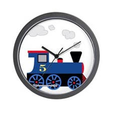 train age 5 blue black Wall Clock