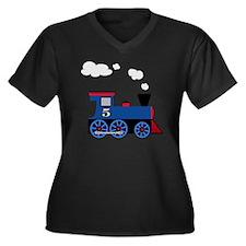 train age 5  Women's Plus Size Dark V-Neck T-Shirt