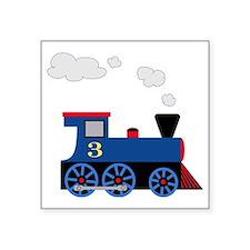 """train age 3 blue black Square Sticker 3"""" x 3"""""""