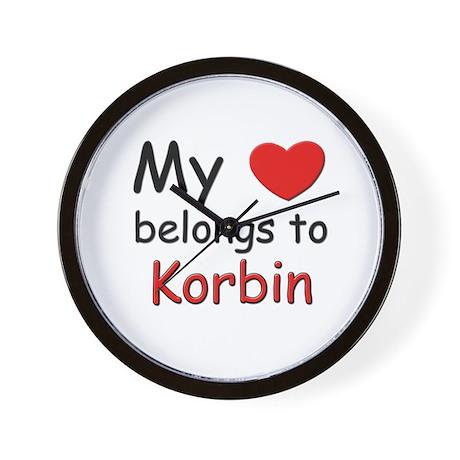 My heart belongs to korbin Wall Clock