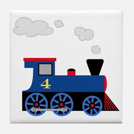 train age 4 blue black Tile Coaster
