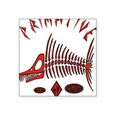 "MARLIN PROOF RED BLACK Square Sticker 3"" x 3"""
