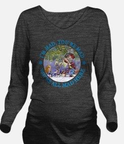 ALICE MAD HATTER WHY Long Sleeve Maternity T-Shirt