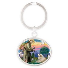 The Saint - Great Pyrenees (#2) Oval Keychain