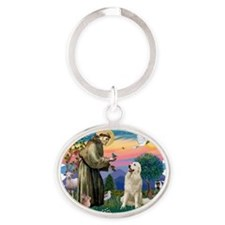 The Saint - Great Pyrenees (#1) Oval Keychain