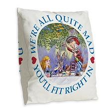 Were all quite mad_folkard blu Burlap Throw Pillow