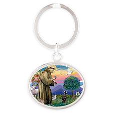 The Saint - Miniature Pinscher Oval Keychain