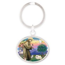 The Saint - Pekingese (whtie) Oval Keychain