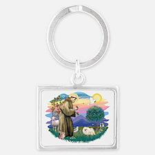 The Saint - Pekingese (whtie) Landscape Keychain