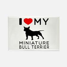 I Love My Miniature Bull Terrier Rectangle Magnet