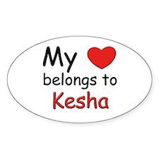 My heart belongs to kesha Oval Decal