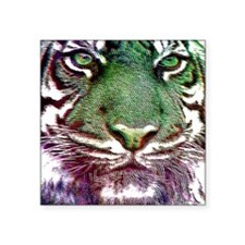 "Green Tiger Face  Square Sticker 3"" x 3"""