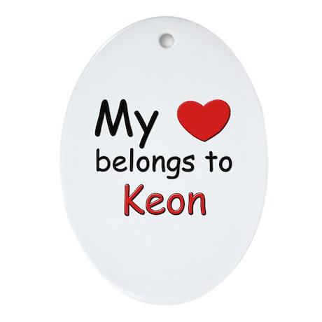 My heart belongs to keon Oval Ornament