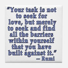 RUMI Quote about Love Tile Coaster