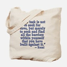 RUMI Quote about Love Tote Bag