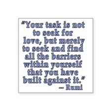 "RUMI Quote about Love Square Sticker 3"" x 3"""
