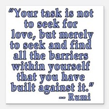 "RUMI Quote about Love Square Car Magnet 3"" x 3"""