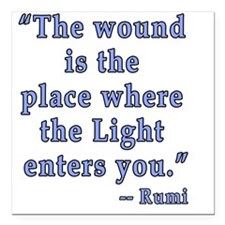 "Rumi Quote Spiritual Square Car Magnet 3"" x 3"""
