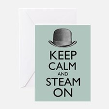 Keep Calm and Steam On Steampunk Derby Hat Greetin