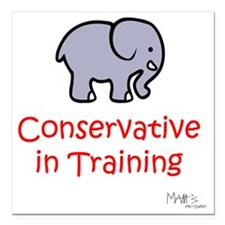 """Conservative In Training Square Car Magnet 3"""" x 3"""""""