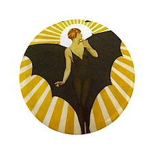 "Art Deco Bat Lady Pin Up Flapper 3.5"" Button"