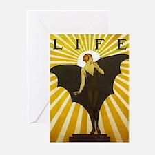 Art Deco Bat Lady Pin Up Flapper Greeting Cards