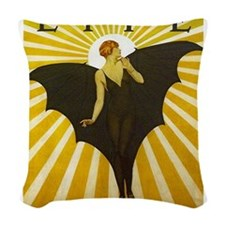 Art Deco Bat Lady Pin Up Flapper Woven Throw Pillo