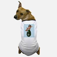 Brunette Mermaid Pin Up on Light Blue Dog T-Shirt
