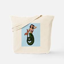 Brunette Mermaid Pin Up on Light Blue Tote Bag