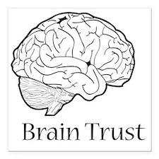 "Brain Trust Black Square Car Magnet 3"" x 3"""