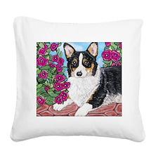 Corgi with Flowers Square Canvas Pillow