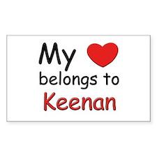 My heart belongs to keenan Rectangle Decal