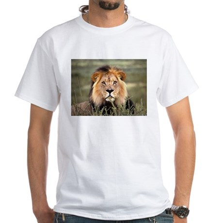 Male African lion White T-Shirt