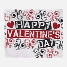happy valentine's day twirls Throw Blanket