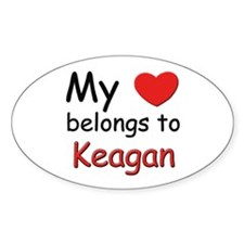 My heart belongs to keagan Oval Decal