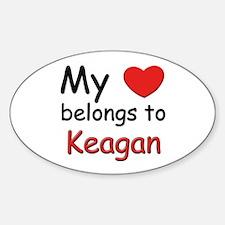 My heart belongs to keagan Oval Decal