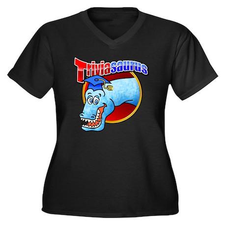 Triviasaurus Women's Plus Size Dark V-Neck T-Shirt